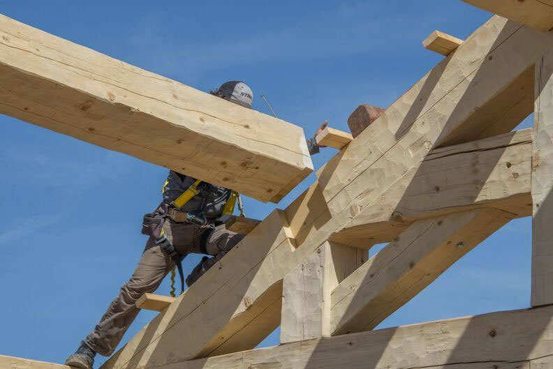 Another custom timber frame construction home in progress in
